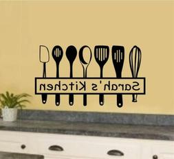 Custom Name Kitchen Utensils Vinyl Decal Wall Stickers Home